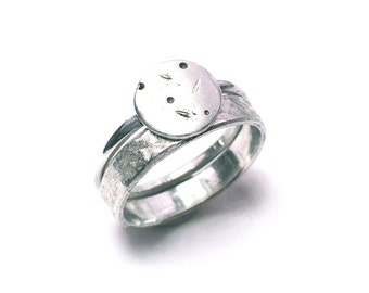 Satellite double stacker ring set - sterling silver