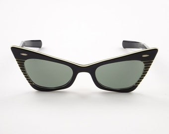 1950s Ray Ban B&L SUN GAY Black Cats Eye Sunglass - Execllent / Very Good