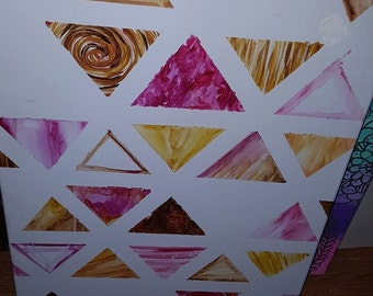 16x20 pink and yellow triangle painting
