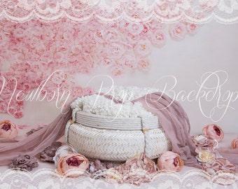 Newborn Digital Backdrop (basket/white/peonies)