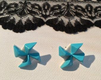Earrings vire wind or windmill, polymer, ear 2.3 cm x 2 studs, cm
