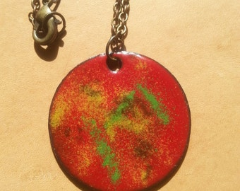 Abstract Copper Enameled Necklace