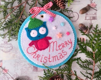 Christmas Owl Felt Holly decorative ornaments on Wall decor Christmas Ornament Gift for Christmas Handmade poster Christmas decor Home decor