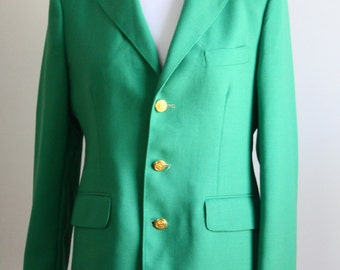 1970s Kelly Green Blazer With Gold Buttons // Vintage Women's Blazer