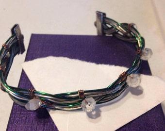 Bracelet Green Copper Wire cuff