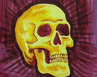skull - yellow on violet