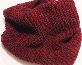 Knitted Neck Warmer-Maroon