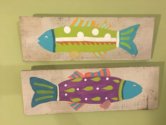 2 funky fish on distressed wood wall art whimsical fish for Funky wall art