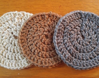 Neutral Solid-colored Circular Crocheted Coasters - Set of Four