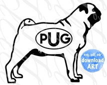 Pug Dog Oval Monogram SVG, PDF, Vector Art File. Immediate download for your DIY cut, print and craft projects.