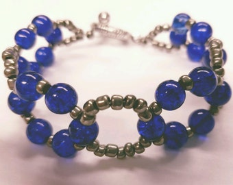 Royal Blue Glass Beads/Pewter Seed Bead Bracelet