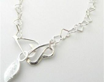 Beaten Heart Silver Necklace
