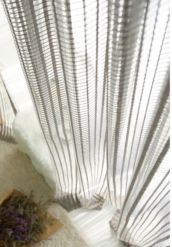 Gray Net Sheer Curtain Voile Panels Lace Curtains By Myhomestylist