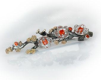 Flowers sakura cherry blossom brooch statement Hanami sterling silver 925 brooch pin botanical jewelry