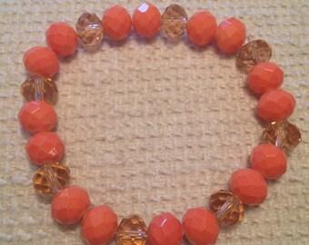 Pêche (Orange Handmade Beaded Bracelet)