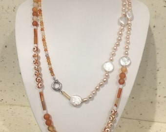 Freshwater Pearl & Agate Long Necklace