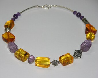 Amber and amethyst necklace