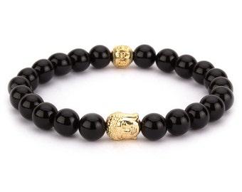 "Bracelet ""black beads buddha"" men women fashion jewelry"