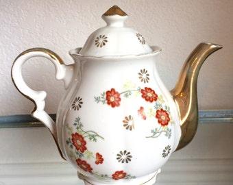 Floral porcelain teapot vintage