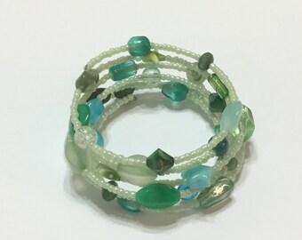 Green spiral bangle