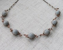 Jewelry Set gray light blue agate necklace earrings polymer clay copper wire earrings light blue necklace light blue necklace grey set