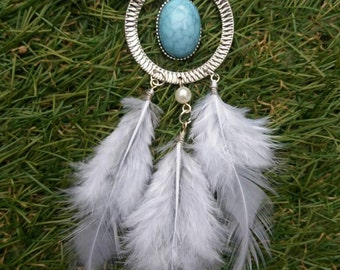 Handmade pendant with feathers necklace