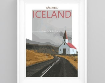 Vintage Travel Poster Iceland, Handmade, A4 or A3 size, CUSTOMISABLE