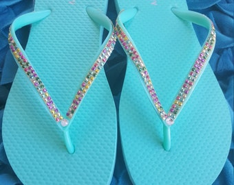Decorated Flip Flops, Rhinestone Flip Flops, Unique Flip Flops