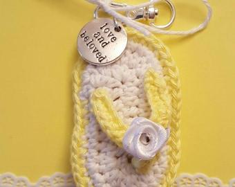 Crochet flip flop Keychain/key chain