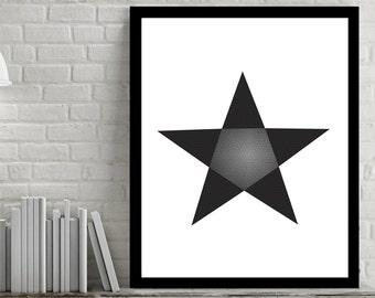 Star, Triangle and hexagon, Geometric Printable, Black and White Digital Wall Art, DIY, Home Decor