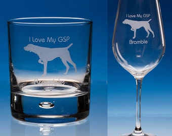 German Shorthaired Pointer, Personalised Wine or Whisky Glass, Pointer Gift, GSP Gift, Pointer Glass, Dog Lover Gift, Dog Gift, Pointer Dog