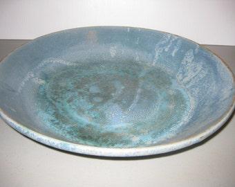 Blue Handmade 14 inch diameter serving dish or bowl signed MM