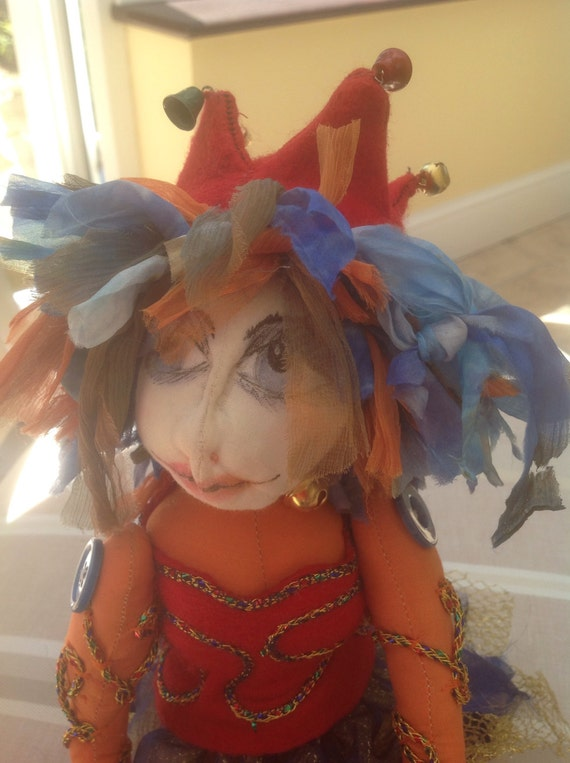 Jess the Jester, a OOAK handmade fabric fairy doll