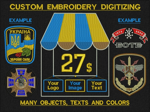 Custom Embroidery Digitizing For Machine Embroidery - Many objects, texts, colors and small details