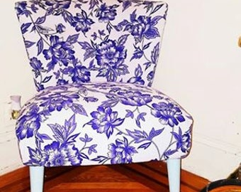 Reupholstered Armless Accent Chair