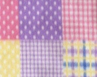 Quilt Pattern Print Fleece Fabric by the yard