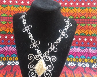 Wire Necklace/ Ancient Fossilized Coral/Statement Necklace/ Butterfly/ Stainless Steel/ Filigree/