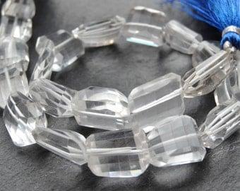 Crystal Quartz cut nuggets, approx 11x14mm, 25cm string, 17 beads (2759)