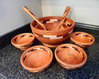 7 piece segmented wood  salad bowl set