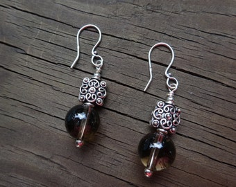 Smoky Quartz with Bali sterling silver earrings