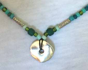 Beaded Necklace w/ Pewter Charm