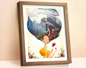 Beauty & The Beast | Children's Prints | Princess Fairy Tale | Girls Room Decor | Nursey Decor Wall Art | Gift For Kids | 8x10 | 11x14