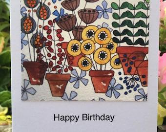 Plants in Pots Greetings Card
