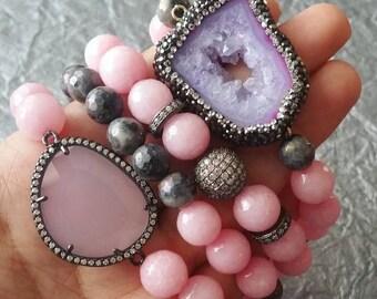 Breast Cancer Bracelet Set   CZ Focals + Blush Pink Beads + Labradorite Beads   Handmade Stretch Bracelet   Breast Cancer Awareness