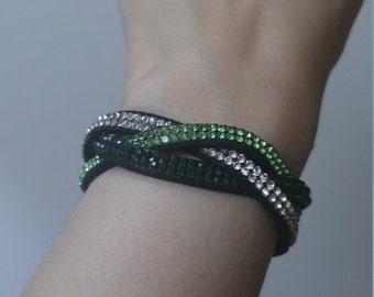 Braided Green Rhinestone Statement Bracelet