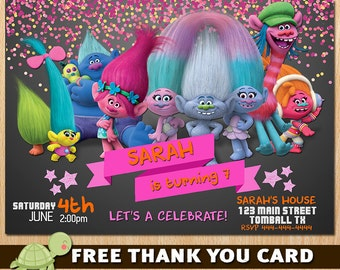 Trolls Invitation for Birthday Party - Trolls Movie New 2016