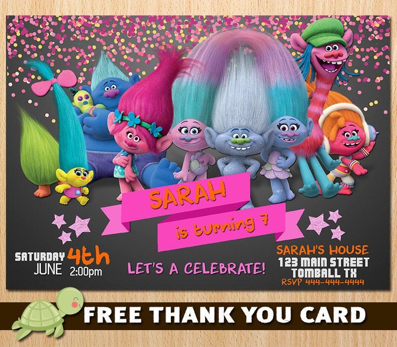 Trolls Invitation for Birthday Party Trolls Movie New 2016