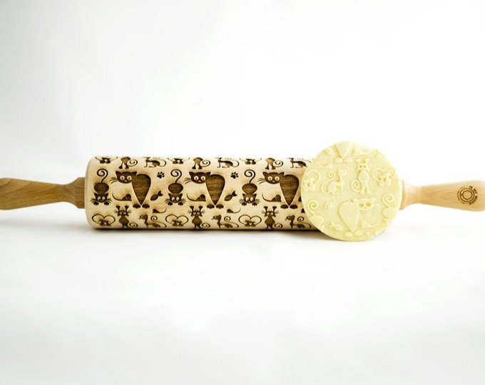 CATS rolling pin, embossing rolling pin, engraved rolling pin for a gift, 4in1 LOVE CATS, gift ideas, gifts, unique, autumn, wedding