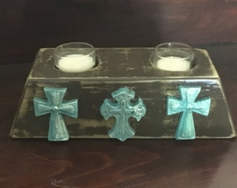 Rustic Western Weathered Style 2 Candle Holder