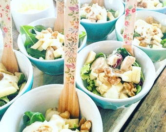 Decorated large wooden forks